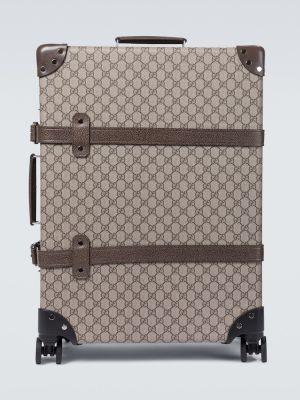 Ватный коричневый кожаный чемодан Gucci