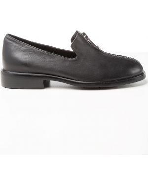 Кожаные черные кожаные туфли Sidestep