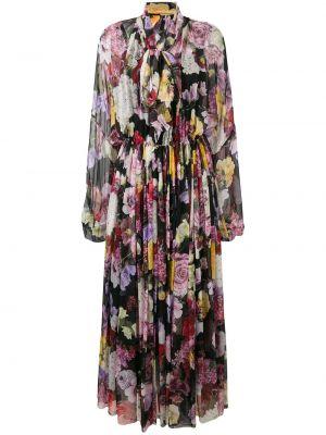 Шелковое черное платье макси с поясом Dolce & Gabbana