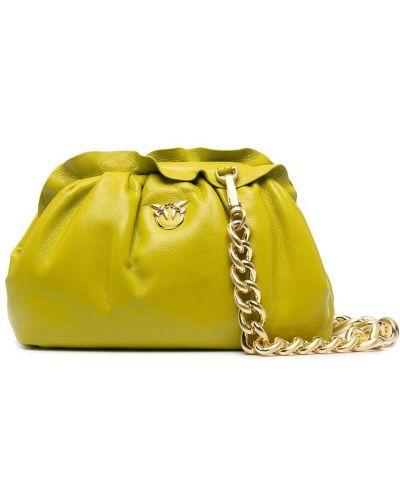 Zielona złota sprzęgło na łańcuchu z falbanami Pinko