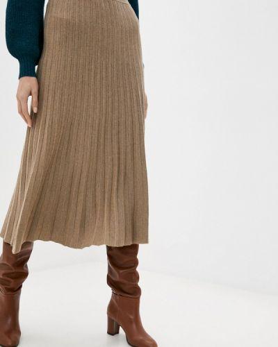 Бежевая плиссированная юбка Rodier