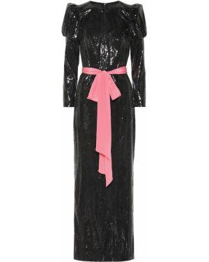 Платье с пайетками - черное Monique Lhuillier