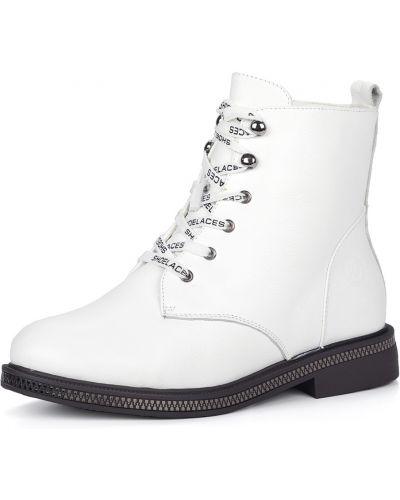 Кожаные белые ботинки на шнуровке Respect