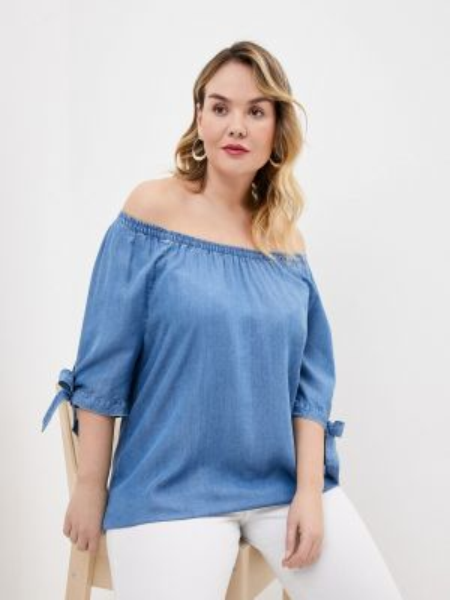 Блузка с открытыми плечами синяя весенний Ulla Popken