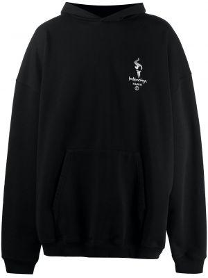 Czarny bluza z kapturem z haftem z kapturem przeoczenie Balenciaga