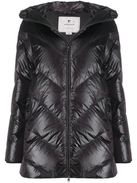 Пальто с капюшоном длинное стеганое Woolrich