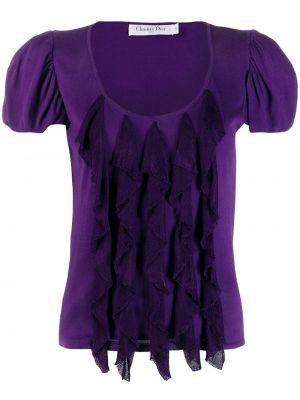 Fioletowa bluzka z wiskozy na co dzień Christian Dior