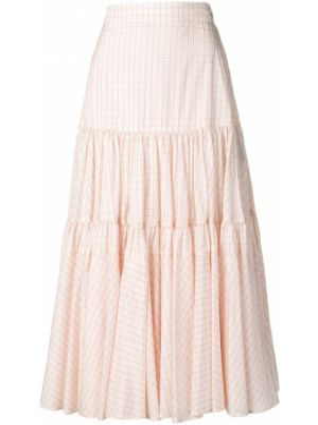 Розовая с завышенной талией юбка миди каскадная в рубчик Calvin Klein 205w39nyc