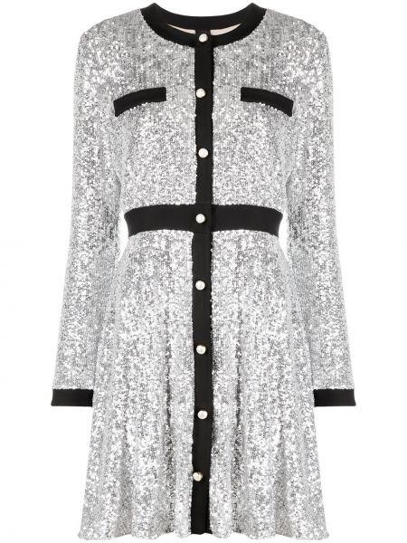 Серебряное с рукавами платье мини с пайетками Pinko
