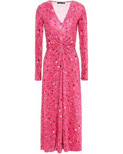 Satynowa różowa sukienka midi Rotate Birger Christensen