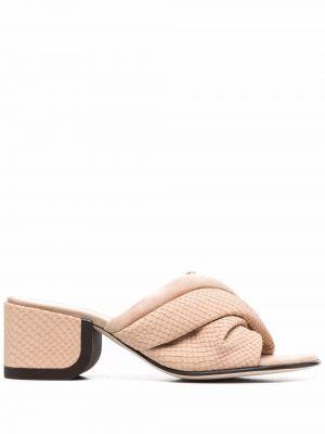 Beżowe sandały na obcasie zamszowe Nicholas Kirkwood
