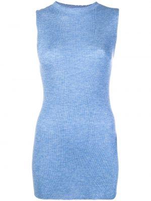 Кашемировый синий топ в рубчик без рукавов Cashmere In Love