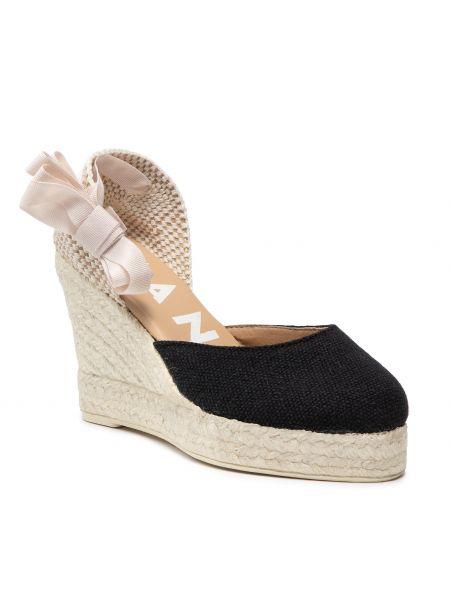 Czarne sandały espadryle Manebi