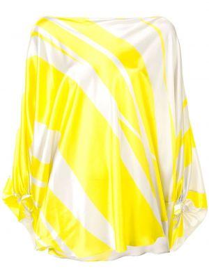 Шелковая желтая блузка с драпировкой с манжетами Silvia Tcherassi