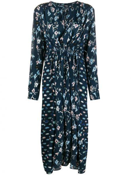 Синее платье миди с вырезом из вискозы круглое Markus Lupfer