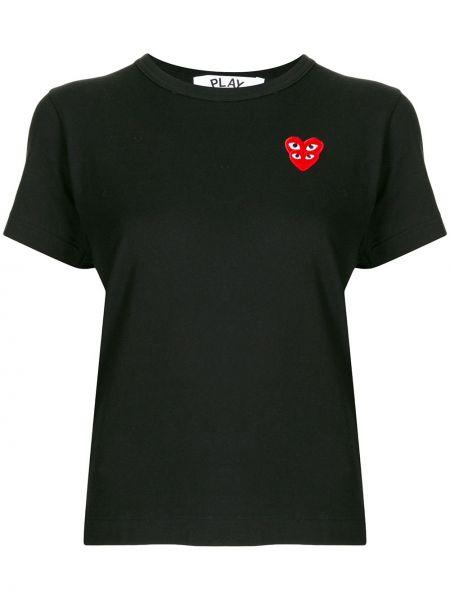 Bawełna czarny koszula z krótkim rękawem okrągły dekolt krótkie rękawy Comme Des Garcons Play