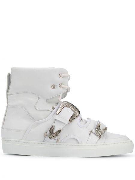 Белые кожаные высокие кроссовки на шнуровке с пряжкой Toga Virilis