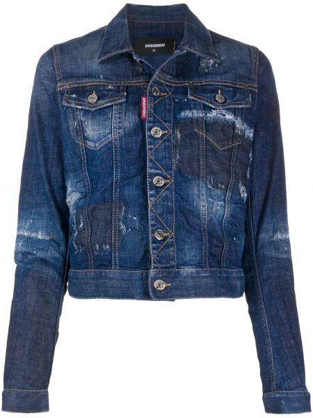 Синяя джинсовая куртка с манжетами на пуговицах стрейч Dsquared2
