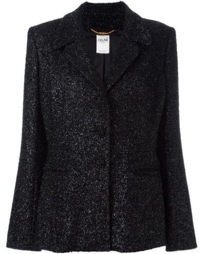 Прямой черный удлиненный пиджак винтажный Céline Pre-owned