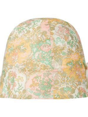 Żółty kapelusz bawełniany z printem Bonpoint