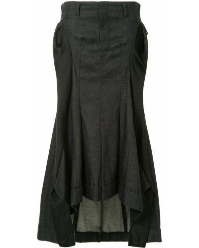 С заниженной талией шелковая синяя асимметричная джинсовая юбка Junya Watanabe Comme Des Garçons Pre-owned