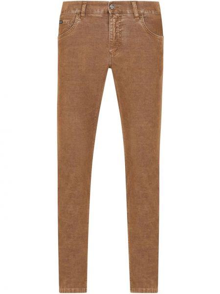 Bawełna spodni brązowy klasyczne spodnie z kieszeniami Dolce And Gabbana