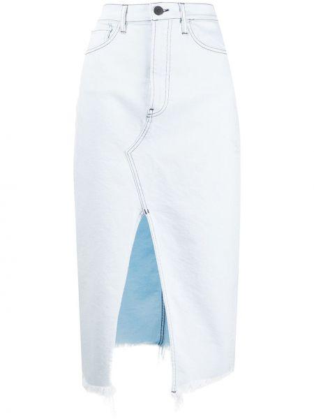 Синяя классическая юбка миди с карманами в рубчик 3x1