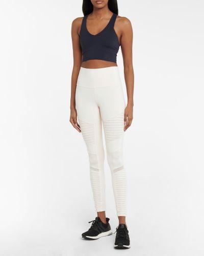 Białe legginsy z nylonu Alo Yoga