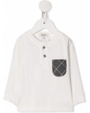 Biały t-shirt z długimi rękawami bawełniany Aletta