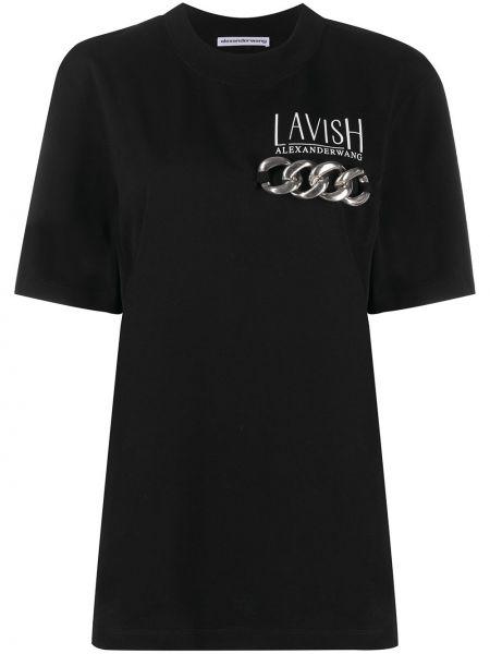 Bawełna czarny prosto koszula z krótkim rękawem krótkie rękawy Alexander Wang