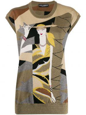 Желтый тонкий шерстяной свитер Dolce & Gabbana