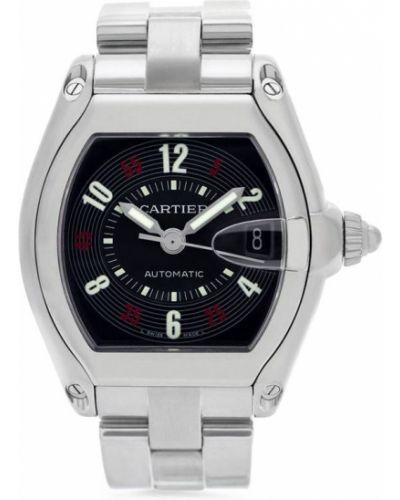 Черные со стрелками часы Cartier