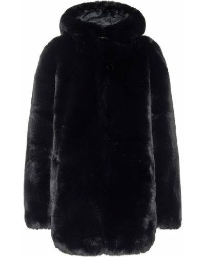 Черное пальто из искусственного меха Goldbergh