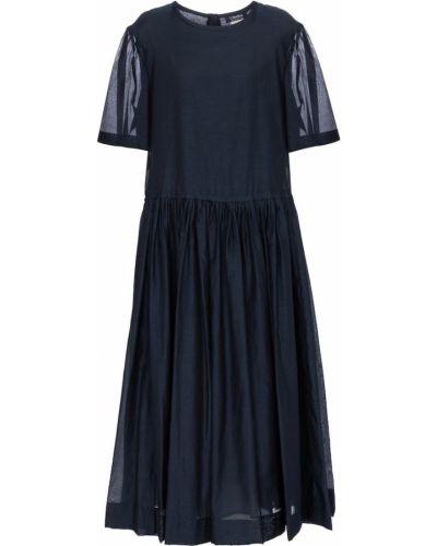 Ватное шелковое синее платье миди 's Max Mara