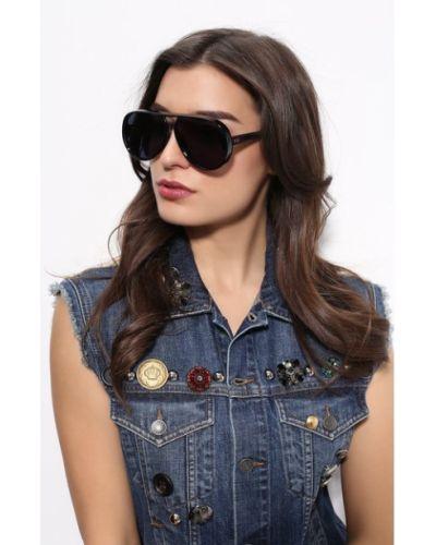 Синие солнцезащитные очки позолоченные с заклепками Dior