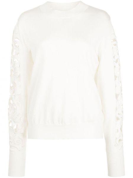 С рукавами белый длинный свитер круглый Oscar De La Renta