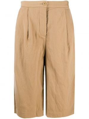 Брючные желтые плиссированные укороченные брюки с карманами Casey Casey