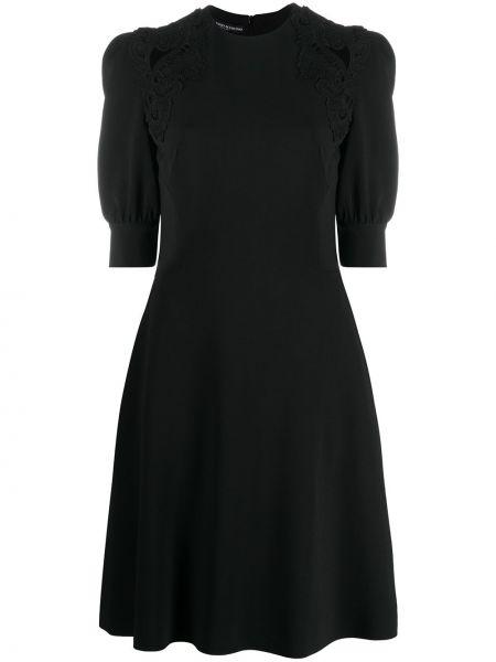 Черное платье миди с вырезом с короткими рукавами со вставками Ermanno Scervino
