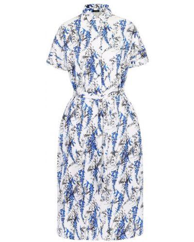 Платье с поясом голубой из поплина Kiton