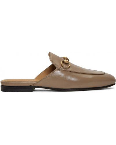 Skórzany loafers na pięcie złoto Gucci