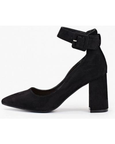Туфли на каблуке черные замшевые Exquily