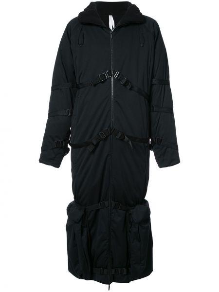 Czarny płaszcz z paskiem Cottweiler