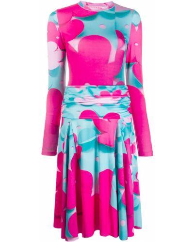 Розовое расклешенное платье миди Paskal