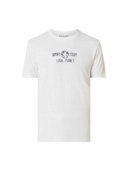 Biały t-shirt bawełniany z printem Review