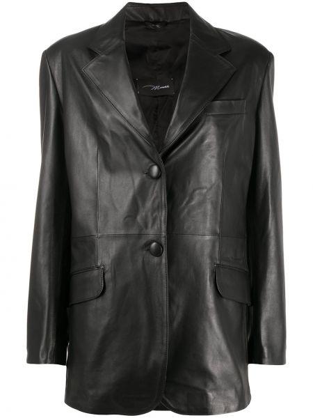 Однобортный черный кожаный пиджак Manokhi
