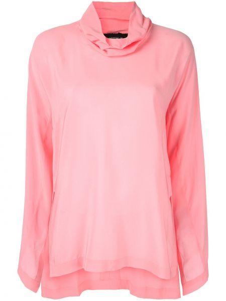Шелковый свободные розовый топ свободного кроя Kitx