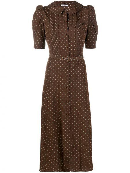 Коричневое платье миди в горошек P.a.r.o.s.h.