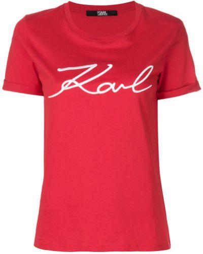 Красная хлопковая футболка Karl Lagerfeld