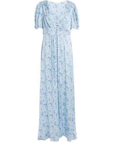 Шелковое синее платье макси с подкладкой Loveshackfancy