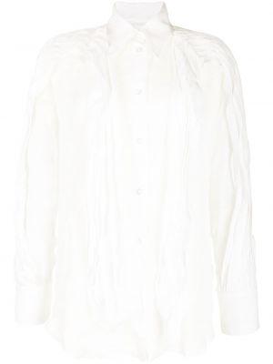 Biała koszula z długimi rękawami z wiskozy Maticevski